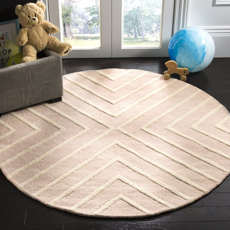 Brenner Hand Tufted Wool Pink Ivory Area Rug Amp Reviews