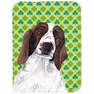 Shamrock Lucky Irish Welsh Springer Spaniel St. Patrick's Day Glass Cutting Board By Caroline's Treasures