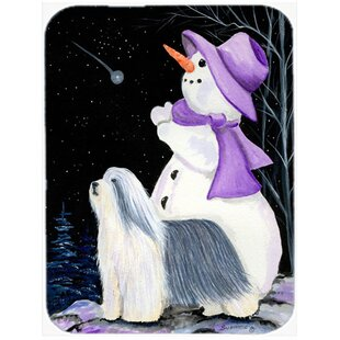 Snowman with Bearded Collie Glass Cutting Board