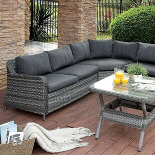 Mckenzie 3 Piece Rattan Sectional Seating Group with Cushions (Set of 3)
