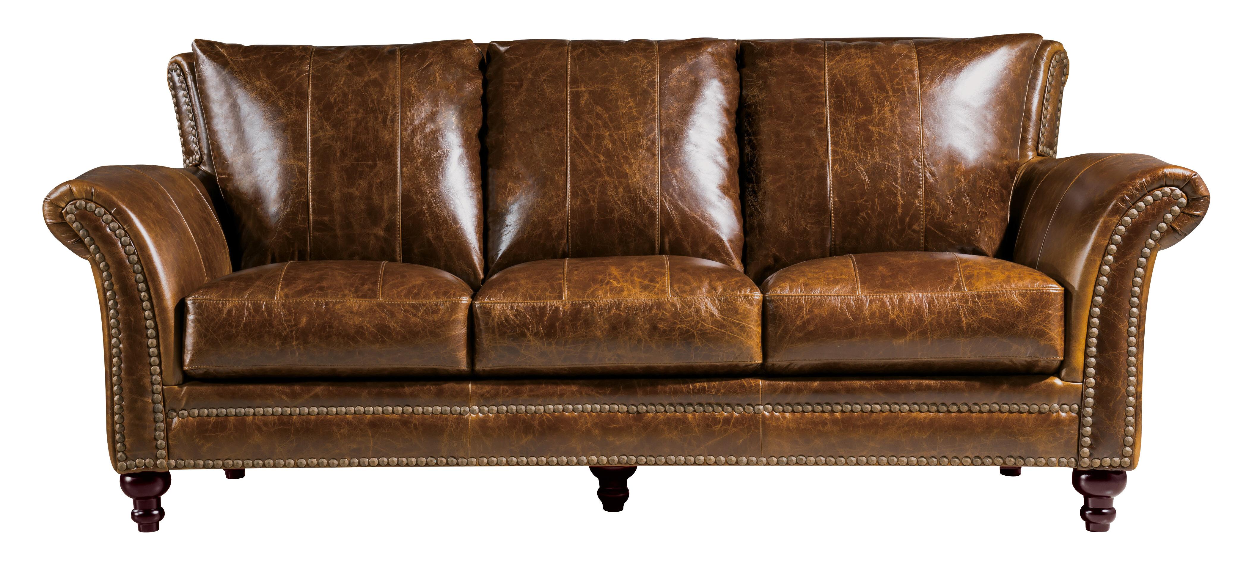 Canora Grey De Foix 91 Wide Genuine Leather Flared Arm Sofa Wayfair