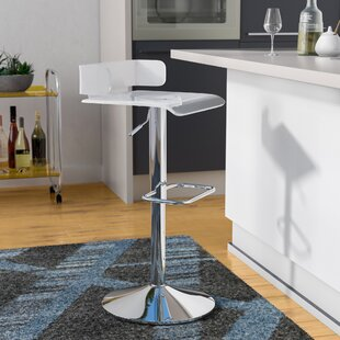 Thatcher Adjustable Height Swivel Contemporary Bar Stool Wade Logan