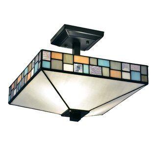 Mowgli Textiles Tiffany 2-Light Semi Flush Mount by Millwood Pines