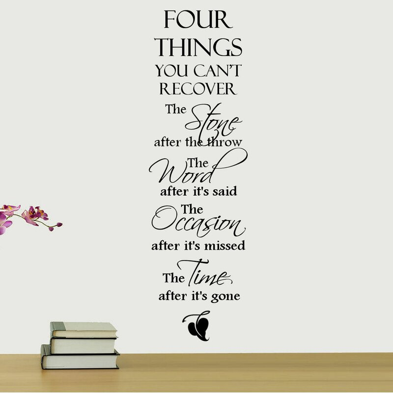 DecaltheWalls Four Things You Cant Recover Quote Wall Decal - How do u put up a wall sticker