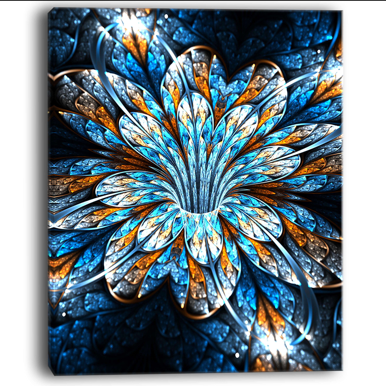 Designart Turquoise Fractal Flower In Dark Graphic Art On Wrapped Canvas Wayfair