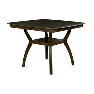Quickep Transitional Counter Height Solid Wood Dining Table Loon Peak