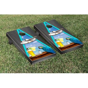 Victory Tailgate Margarita Beach Themed Onyx Stained Triangle Version 2 Cornhole Game Set