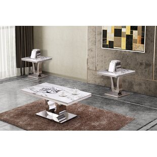 Everly Quinn Marazi Marble 3 Piece Coffee Table Set