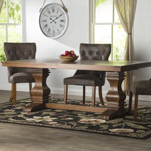 Derwent Extendable Solid Wood Dining Table Three Posts