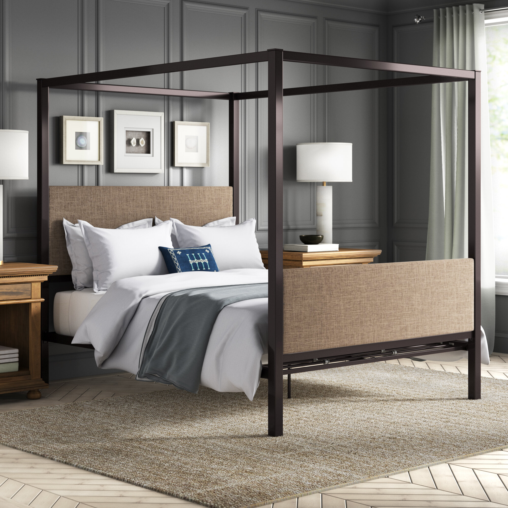 Fromberg queen upholstered canopy bed