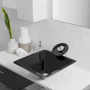 Best Price Glass Square Vessel Bathroom Sink with Faucet ByRené By Elkay