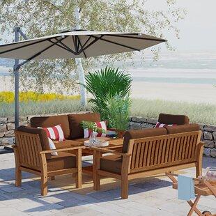 Elsmere 5 Piece Teak Sofa Set with Sunbrella Cushions by Beachcrest Home