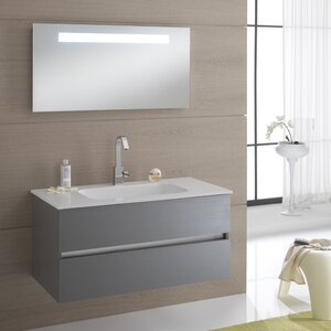 borneo 100cm wall mounted vanity unit with mirror tap and cabinet
