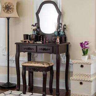 Demello Antique Vanity Set with Mirror ByFleur De Lis Living