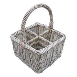 Willow Cutlery And Glass Basket In White By House Additions