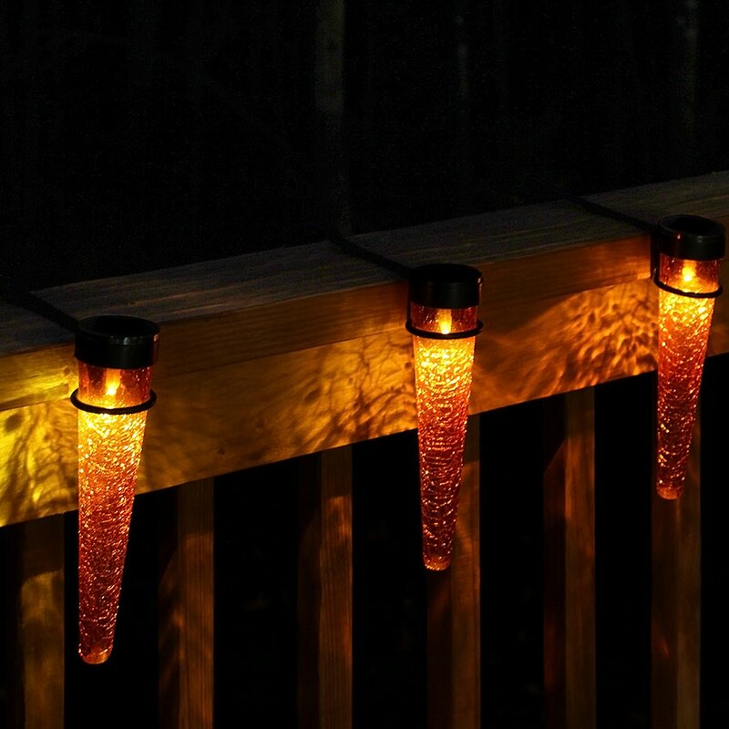ACHLA Solar Cones 3 Light Rail Light with Handrail Brackets  Bulb Color: Red