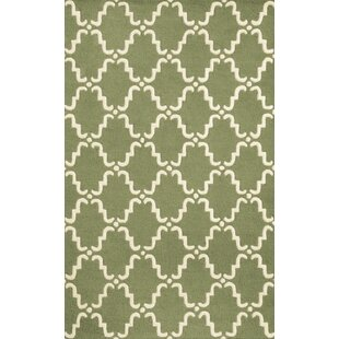 Reviews Dewar Hand-Hooked Green/White Area Rug By Brayden Studio