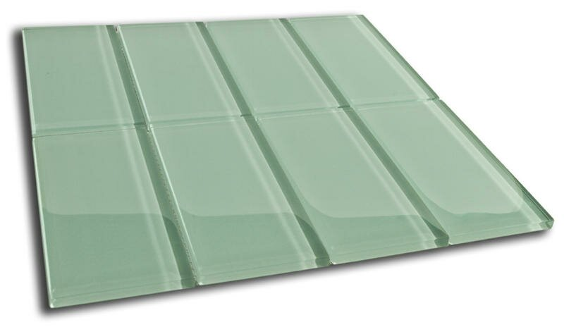 "Californium 3"" x 6"" Glass Mosaic Tile in Sage Green"