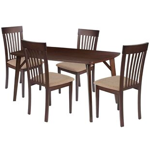 Skiba 5 Piece Solid Wood Dining Set by Winston Porter