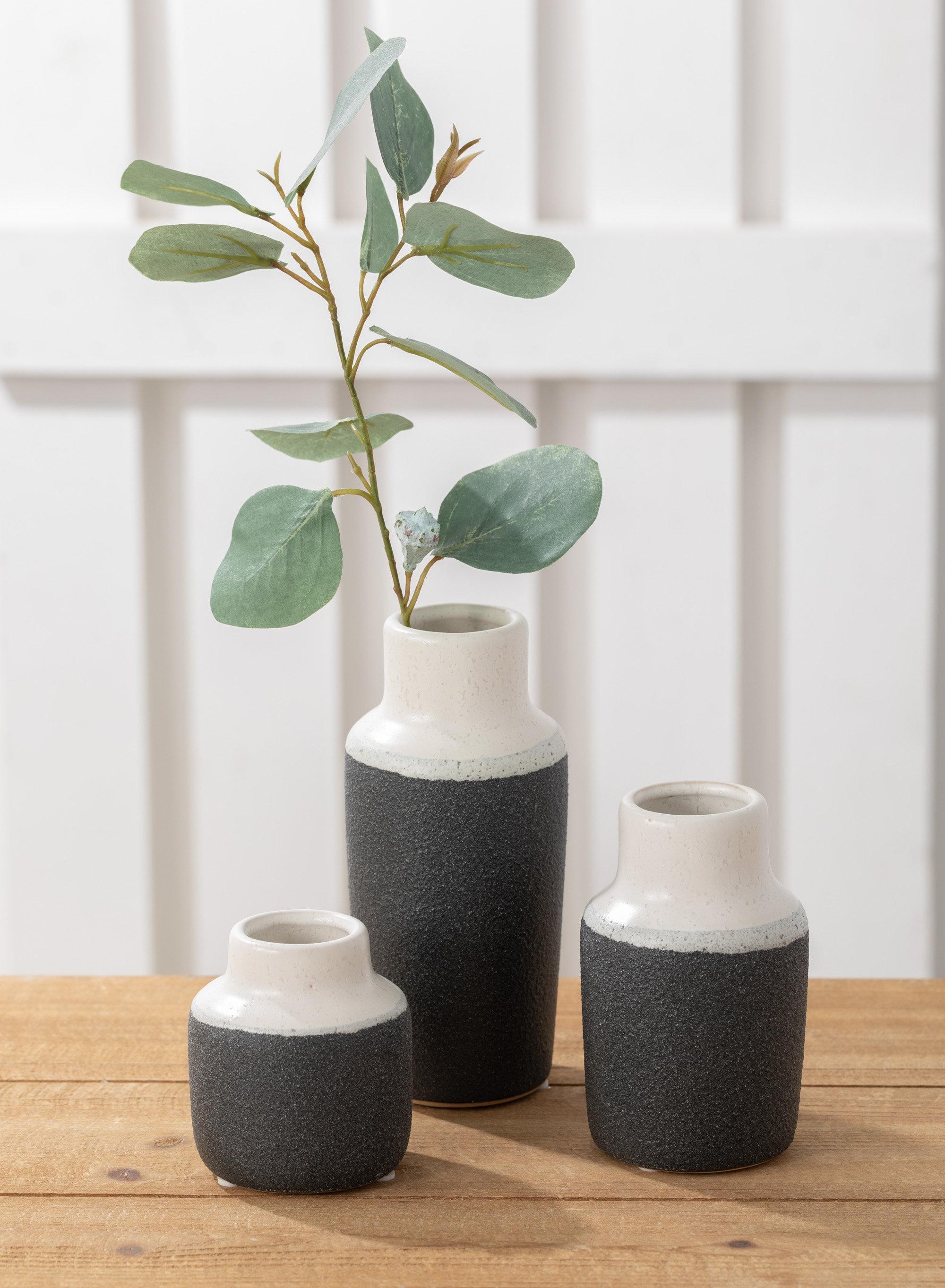 George Oliver 3 Piece Sandiford White Black Indoor Outdoor Ceramic Table Vase Set Reviews Wayfair