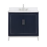 "Gracie 36"" Bathroom Vanity, Blue With White Quartz Top And Brushed Nickel Trim"