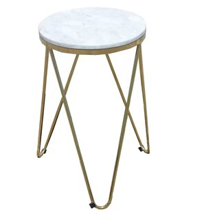 Keane Faux Marble End Table by Everly Quinn Modern