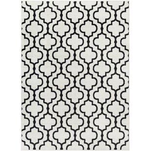 Best Price Shonnard Trellis Black/White Area Rug ByHouse of Hampton