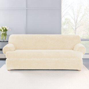 Stretch Plush 2 Piece T-Cushion Sofa Slipcover Set by Sure ...