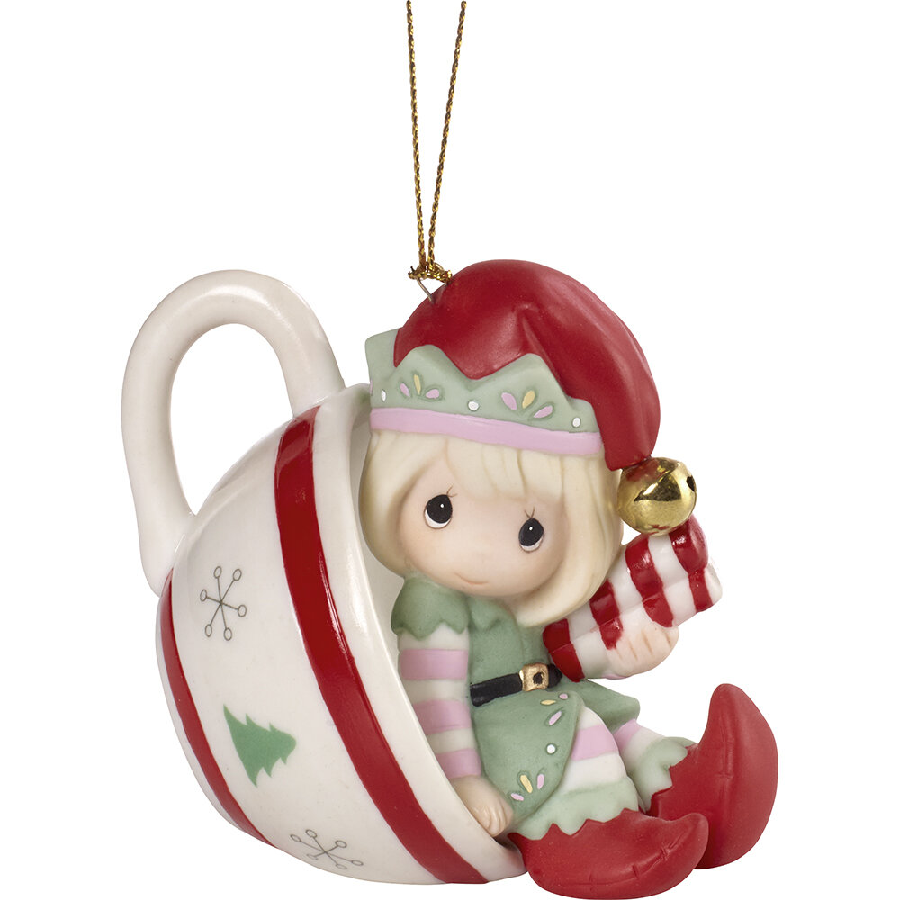Cheers to a Sweet Holiday Annual Elf Bisque Porcelain Hanging Figurine  Ornament