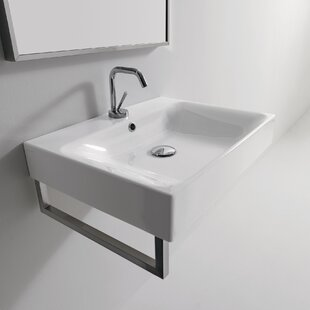Great deal Cento Ceramic Ceramic Rectangular Vessel Bathroom Sink with Overflow ByWS Bath Collections