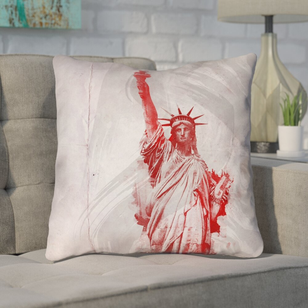 Brayden Studio Houck Watercolor Statue Of Liberty Printed Zipper Square Throw Pillow Wayfair