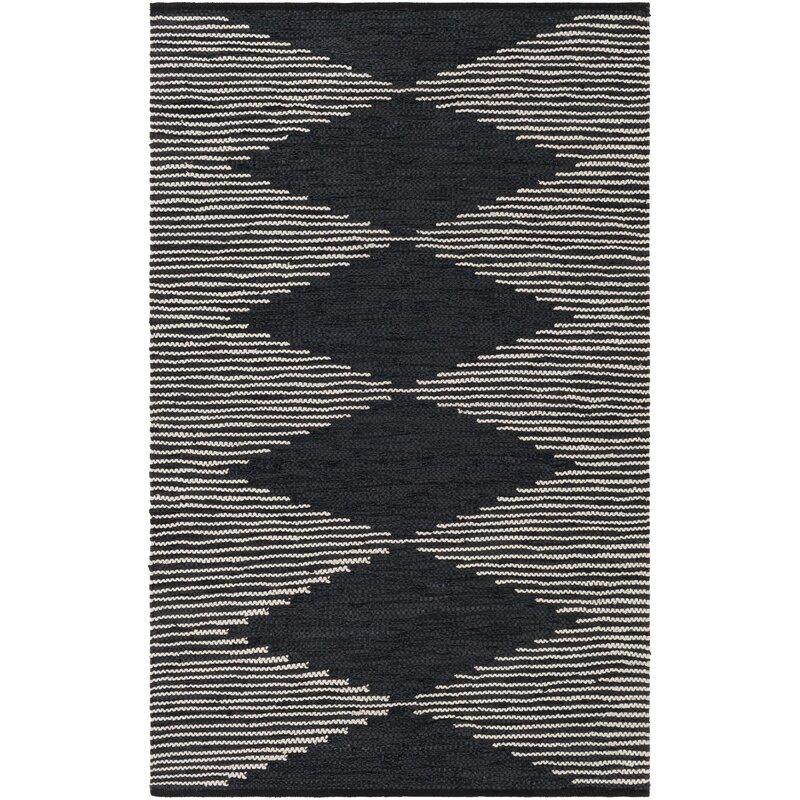 Union Rustic Alexandre Southwestern Handmade Flatweave Leather Cream Black Area Rug Wayfair