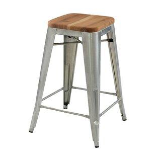 Cocchiara 26 Bar Stool With Wood Seat Set Of 4