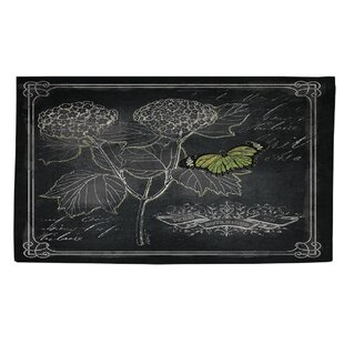 Best Reviews Chalkboard Botanical 1 Black/White Area Rug By Manual Woodworkers & Weavers