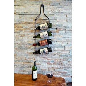 4 bottle wall mounted wine rack