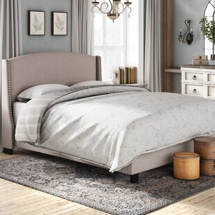 Chambery Shelter Back Queen Upholstered Panel Bed by Lark Manor