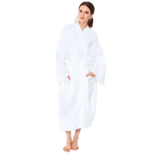 Francena Light Weave Pocketed Spa 100% Cotton Waffle Bathrobe