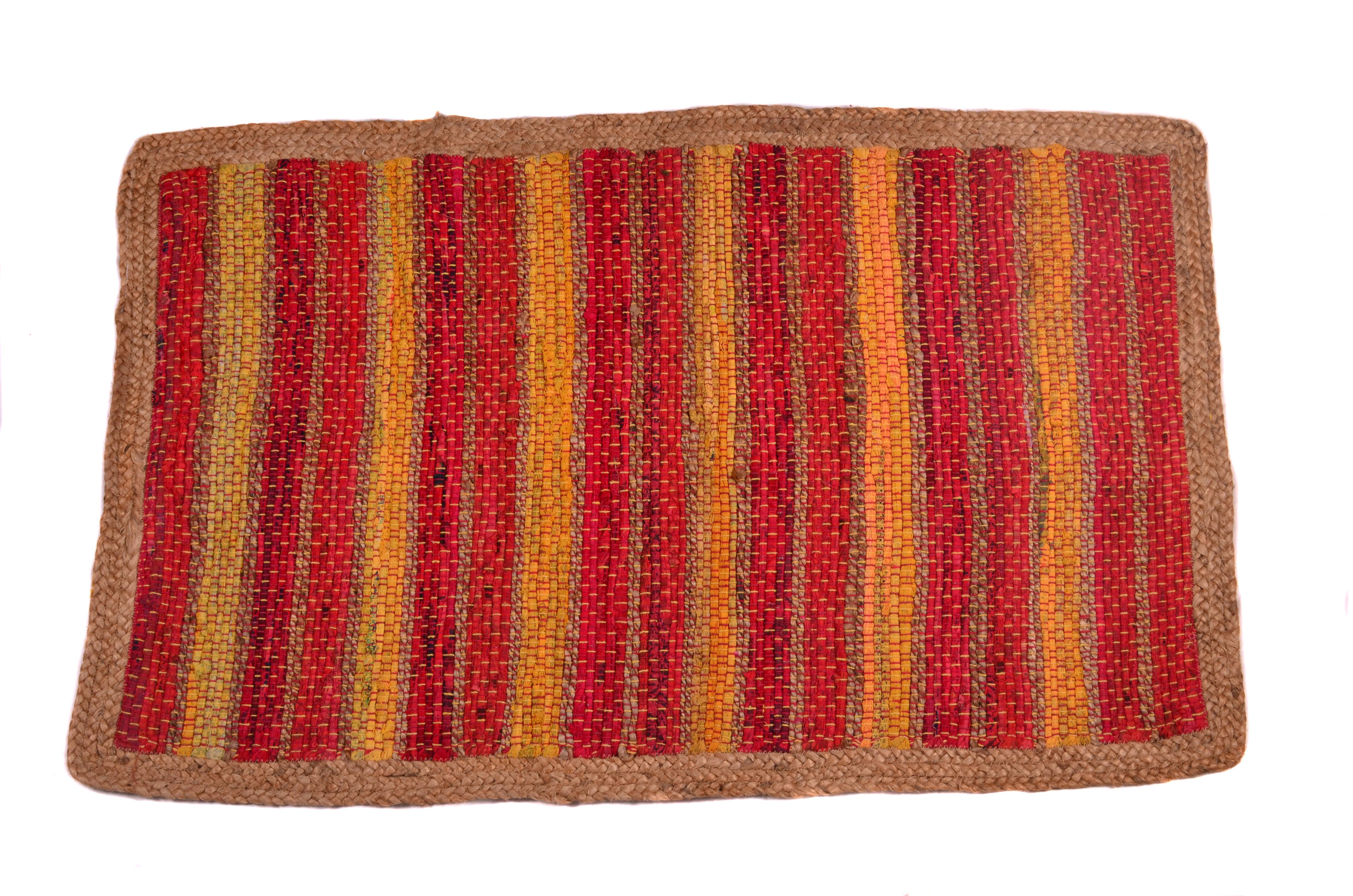 World Menagerie Plimpton Striped Handmade Knotted Jute Sisal Orange Red Area Rug Wayfair