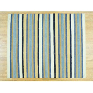 One-of-a-Kind Bessey Striped Handmade Kilim Wool Area Rug Isabelline