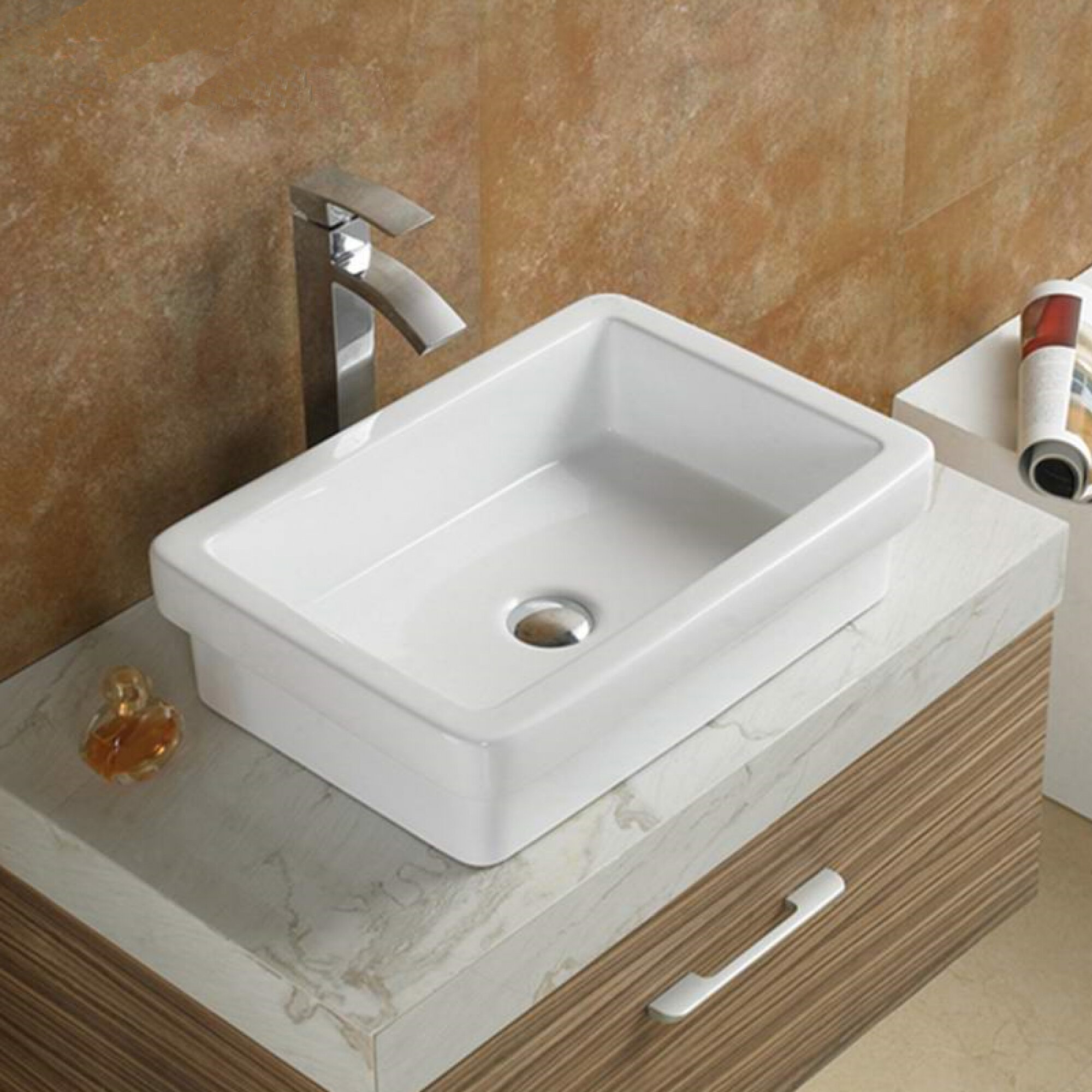 American Imaginations Above Counter For Drilling Ceramic Rectangular Vessel Bathroom Sink Wayfair
