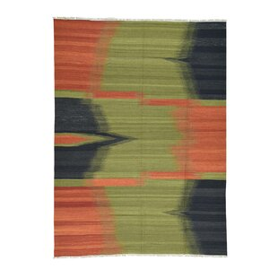 Lomonaco Durie Kilim Flat Weave Hand Knotted Olive Green Black Red Area Rug