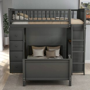 Rehm Twin over Twin L Bed with Drawers and Shelves by Harriet Bee
