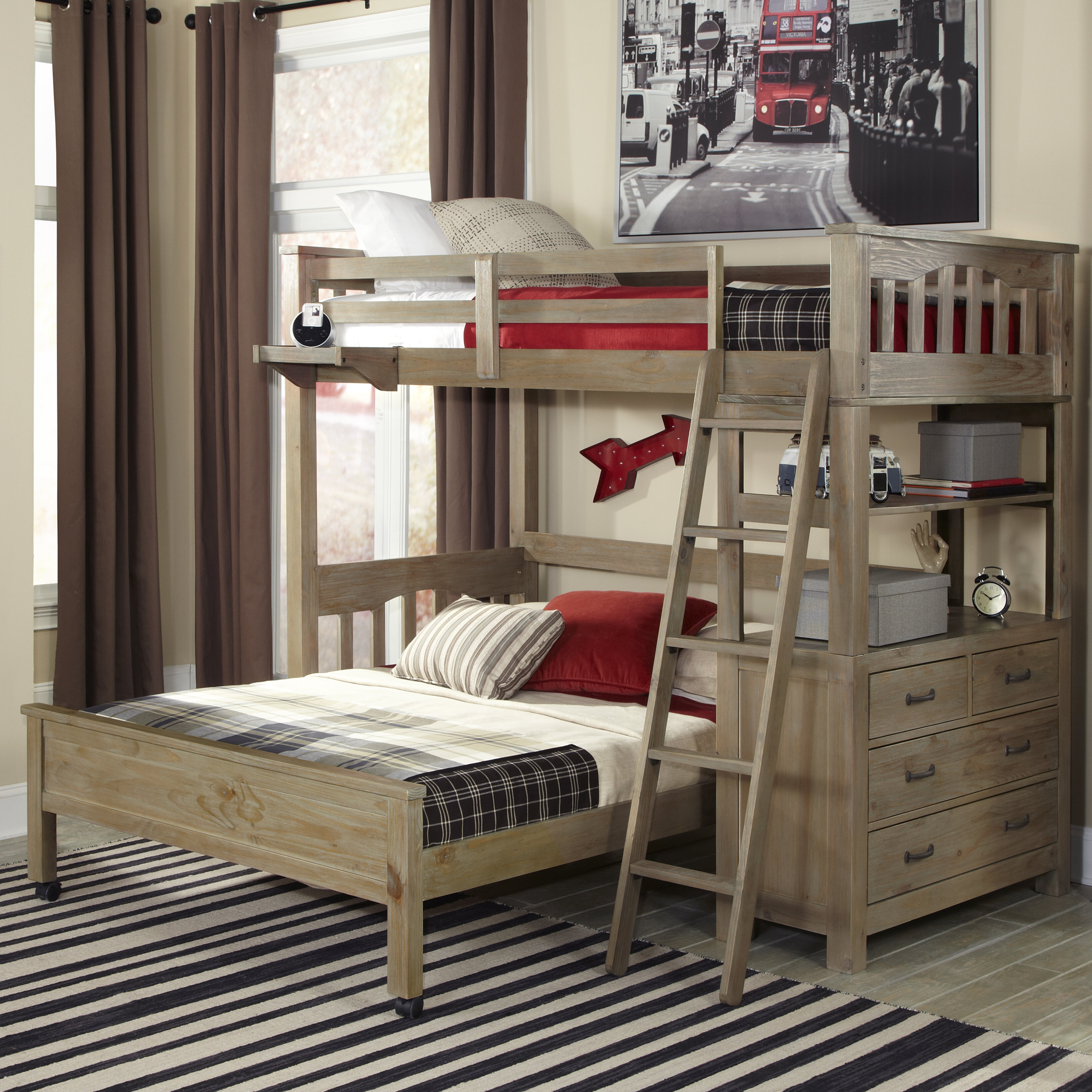 Picture of: Gisselle L Shaped Bunk Beds With Drawers And Shelves Reviews