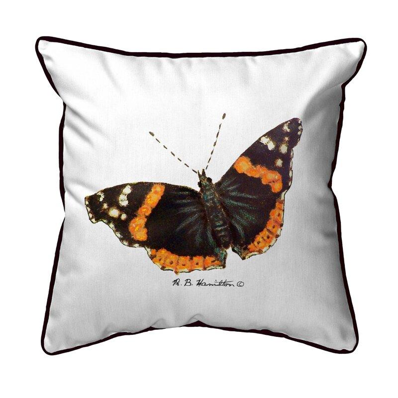 Winston Porter Simonds Admiral Butterfly Indoor Outdoor Throw Pillow Wayfair