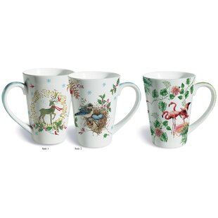 2 Piece Holiday Cheer Fine Porcelain Gift Mug Set