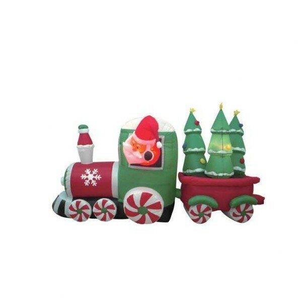 The Holiday Aisle Christmas Inflatable Santa Claus Driving Train Decoration & Reviews | Wayfair