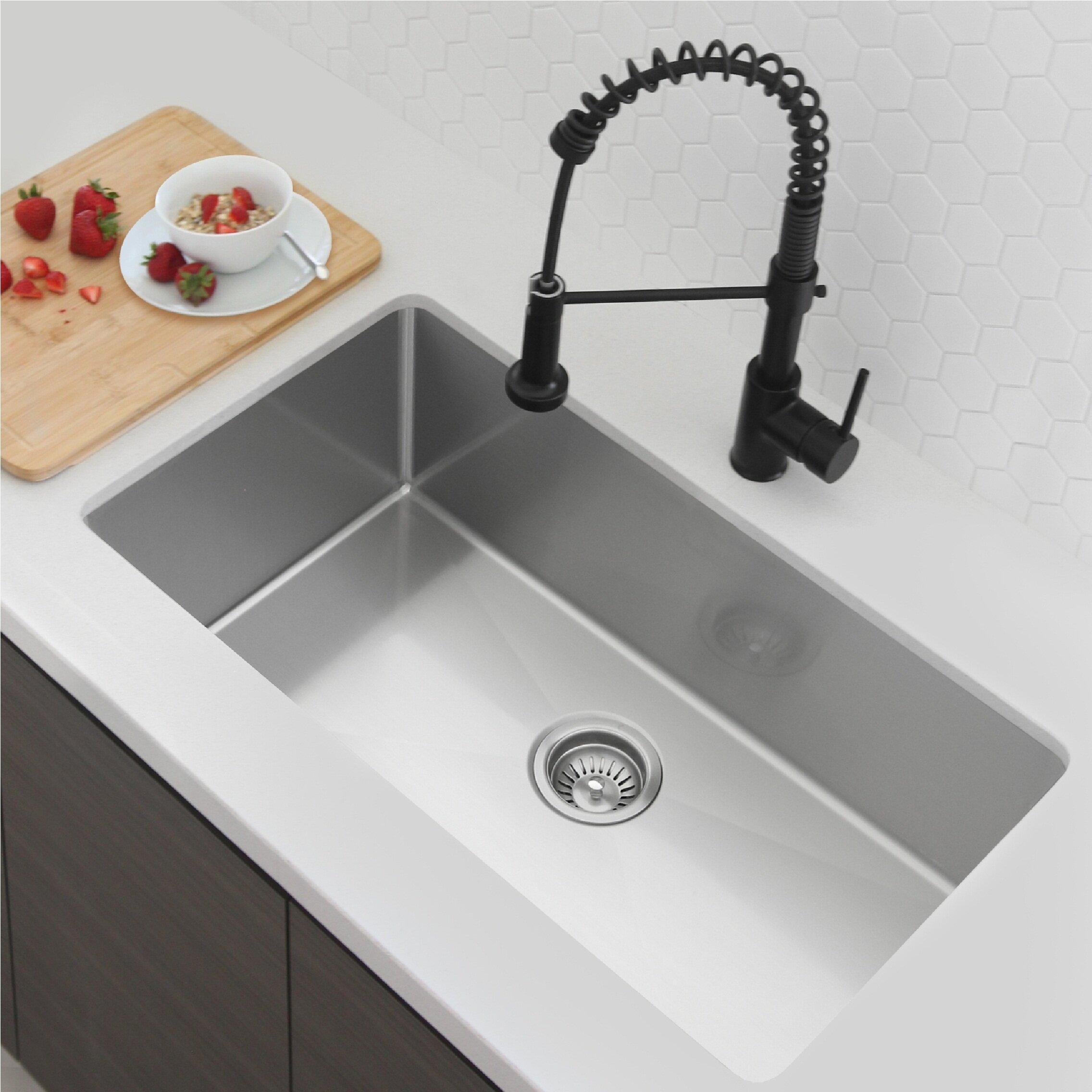 Stylish 31 L X 18 W Single Basin Undermount Kitchen Sink With Strainer Wayfair