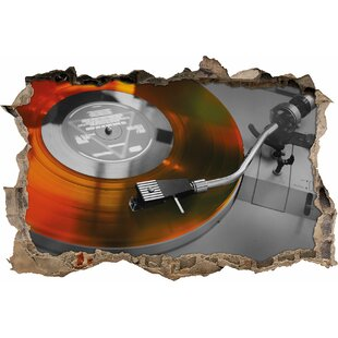 Old-Fashioned Record Player Wall Sticker By East Urban Home