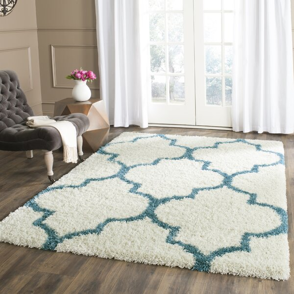 Viv + Rae Kids Off-White And Teal Shag Area Rug & Reviews