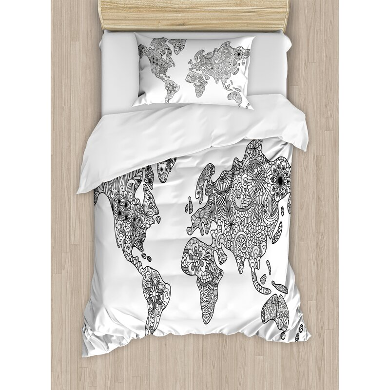 earth floral pattern as world map continents authentic stylized modern design duvet set